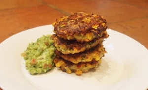 Spicy sweetcorn and courgette fritters with guacamole