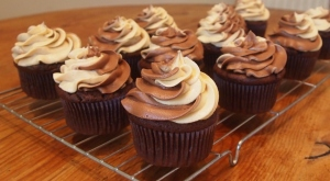 Double chocolate and peanut butter cupcakes