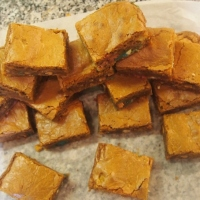 White chocolate and peanut M&M blondies